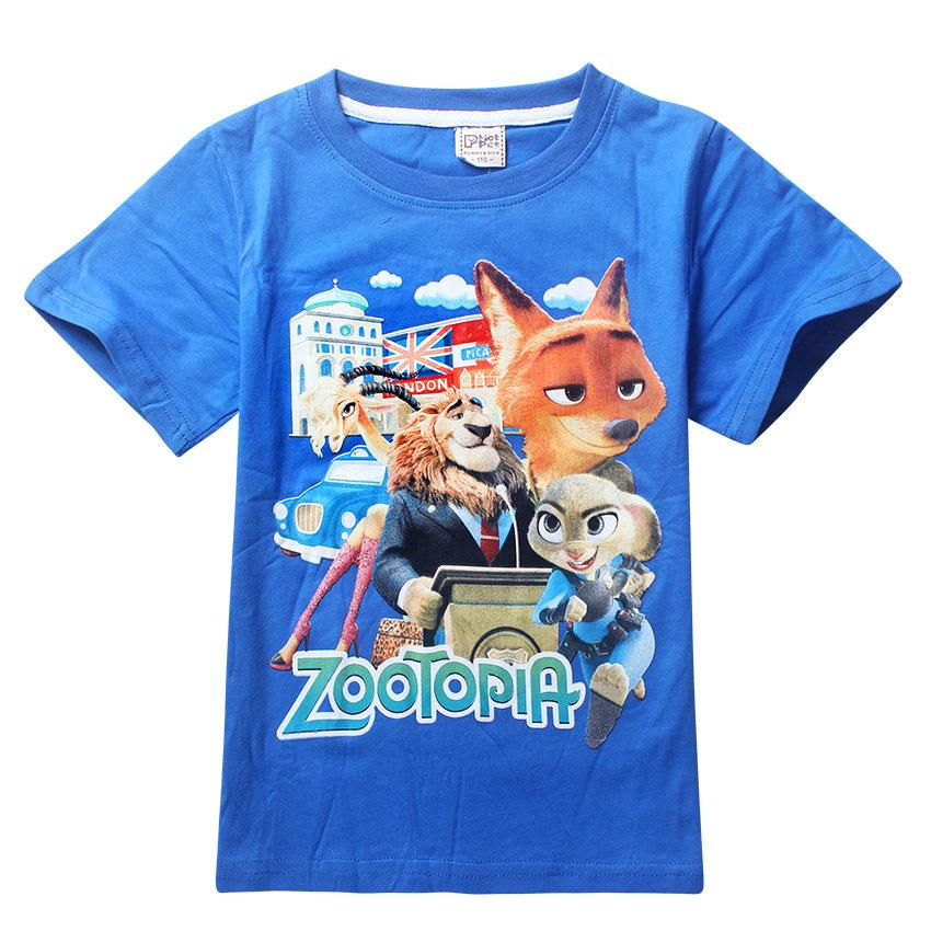 wholesale dhl 2016 baby boys cartoon summer clothes short sleeve zootopia boy 39 s t shirt children. Black Bedroom Furniture Sets. Home Design Ideas
