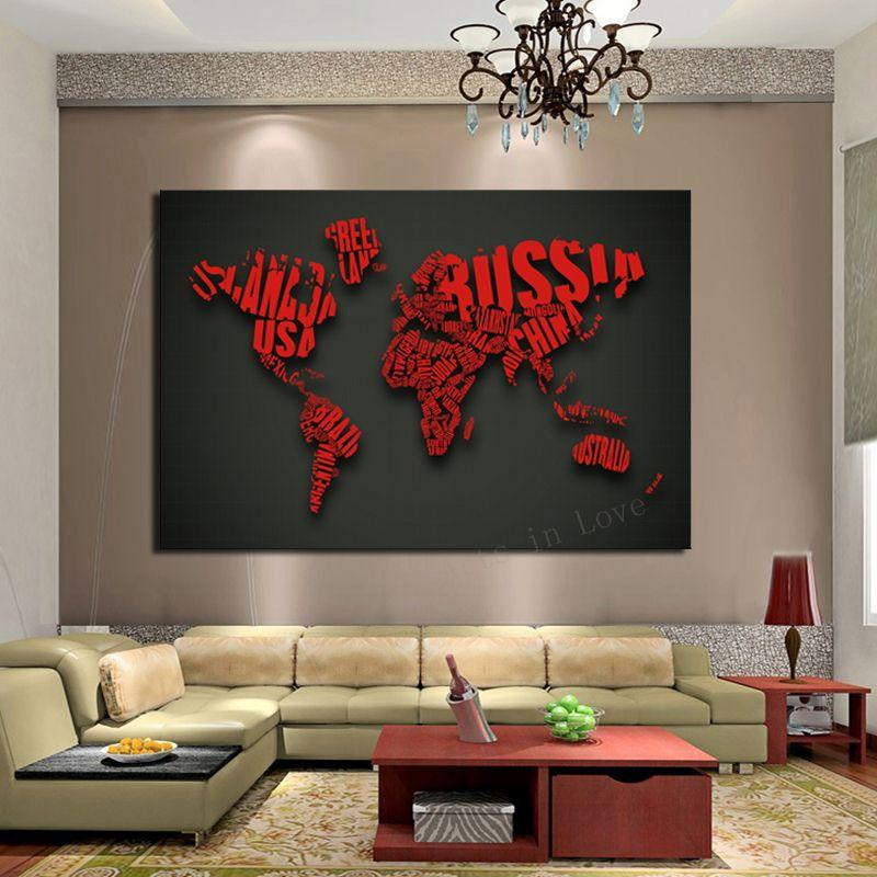Buy Cheap Paintings For Big Save, Picture Art Red Map Modern Home