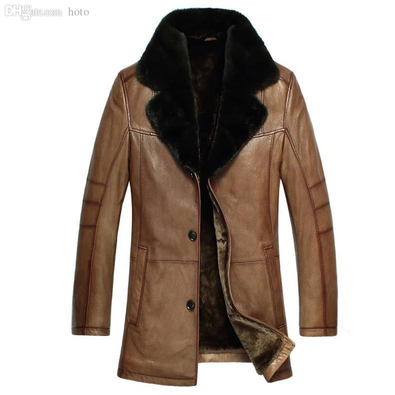 Fall-Leather Suede Sheepskin Coat Men Genuine Sheepskin Leather ...