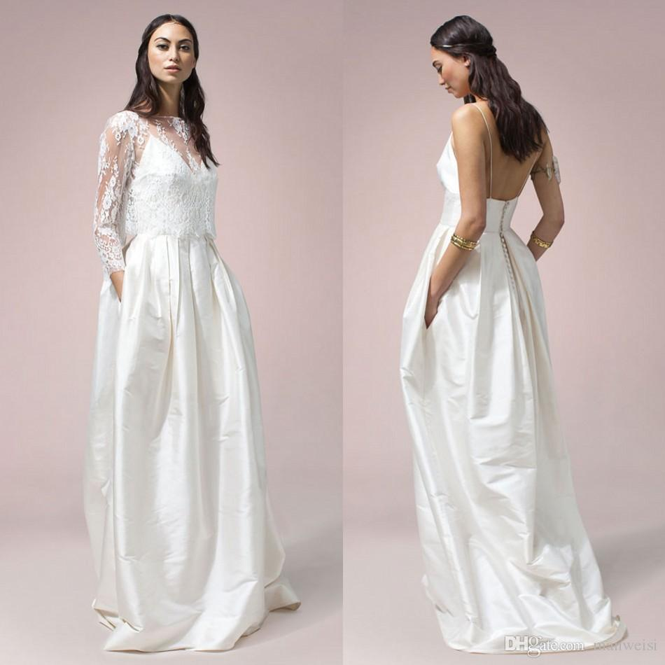 Bohemian 1970s Wedding Dresses With Wrap Backless Spaghetti Neck Sleeveless Arabic Bridal Gowns Pocket Sweep Train Cheap Satin Dress