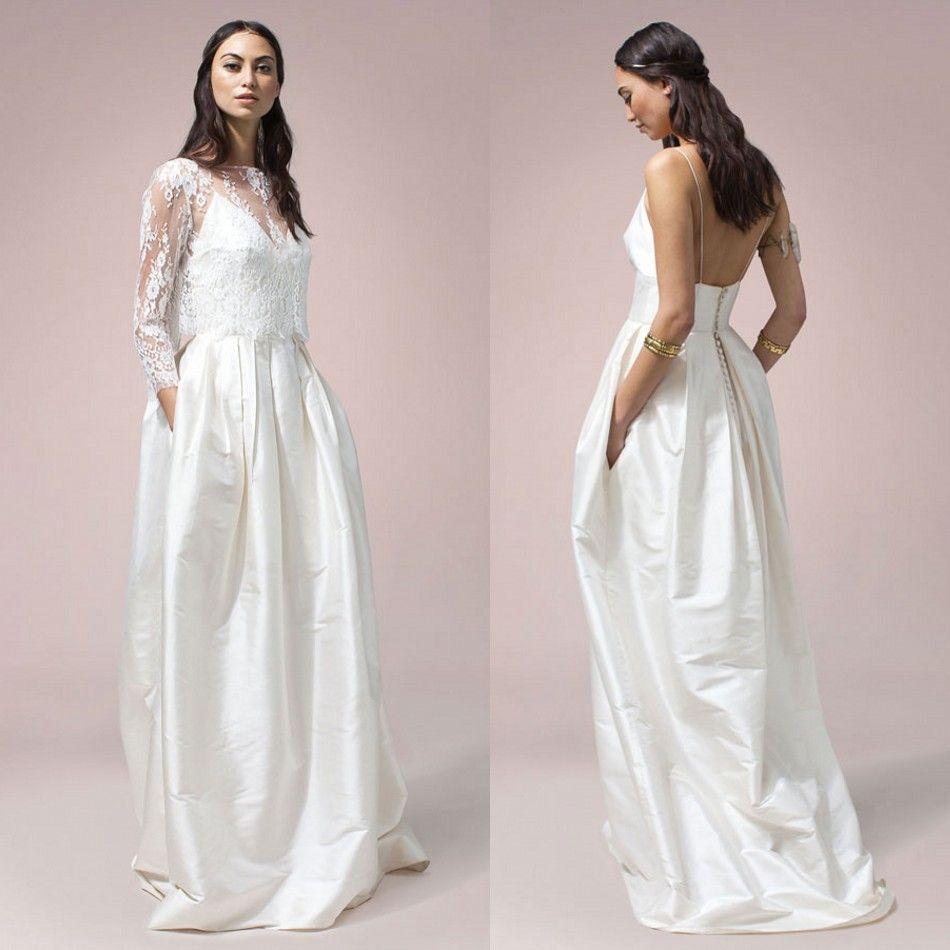 Ideas 1970s Wedding Dresses bohemian 1970s wedding dresses with wrap backless spaghetti neck sleeveless arabic bridal gowns pocket sweep train