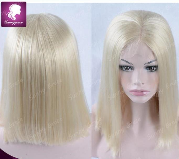 Cheap 100 European Human Hair Blonde Bob Lace Front Wig