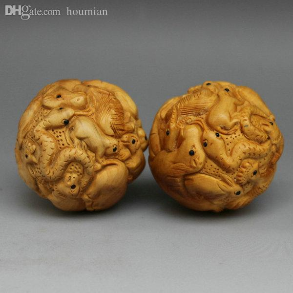 Discount wholesale boxwood carving wood handball