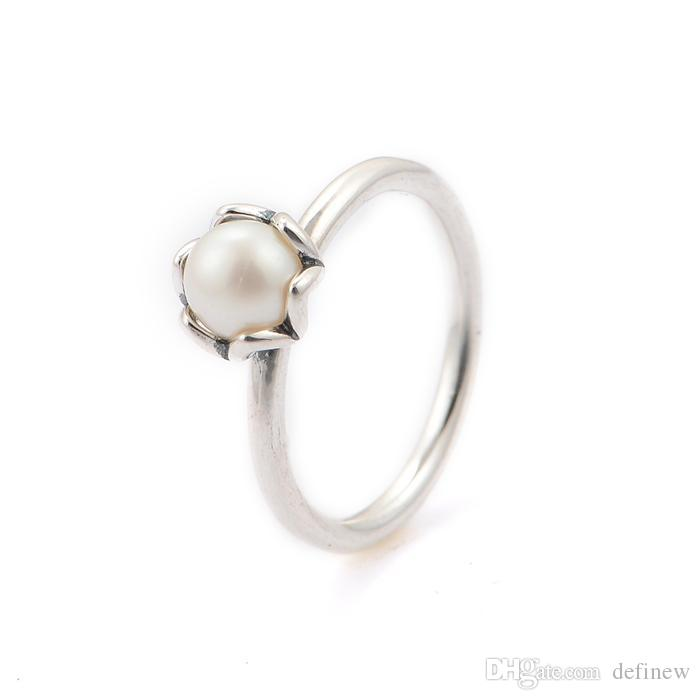 2018 Crown Silver White Pearl Rings 925 Ale Sterling