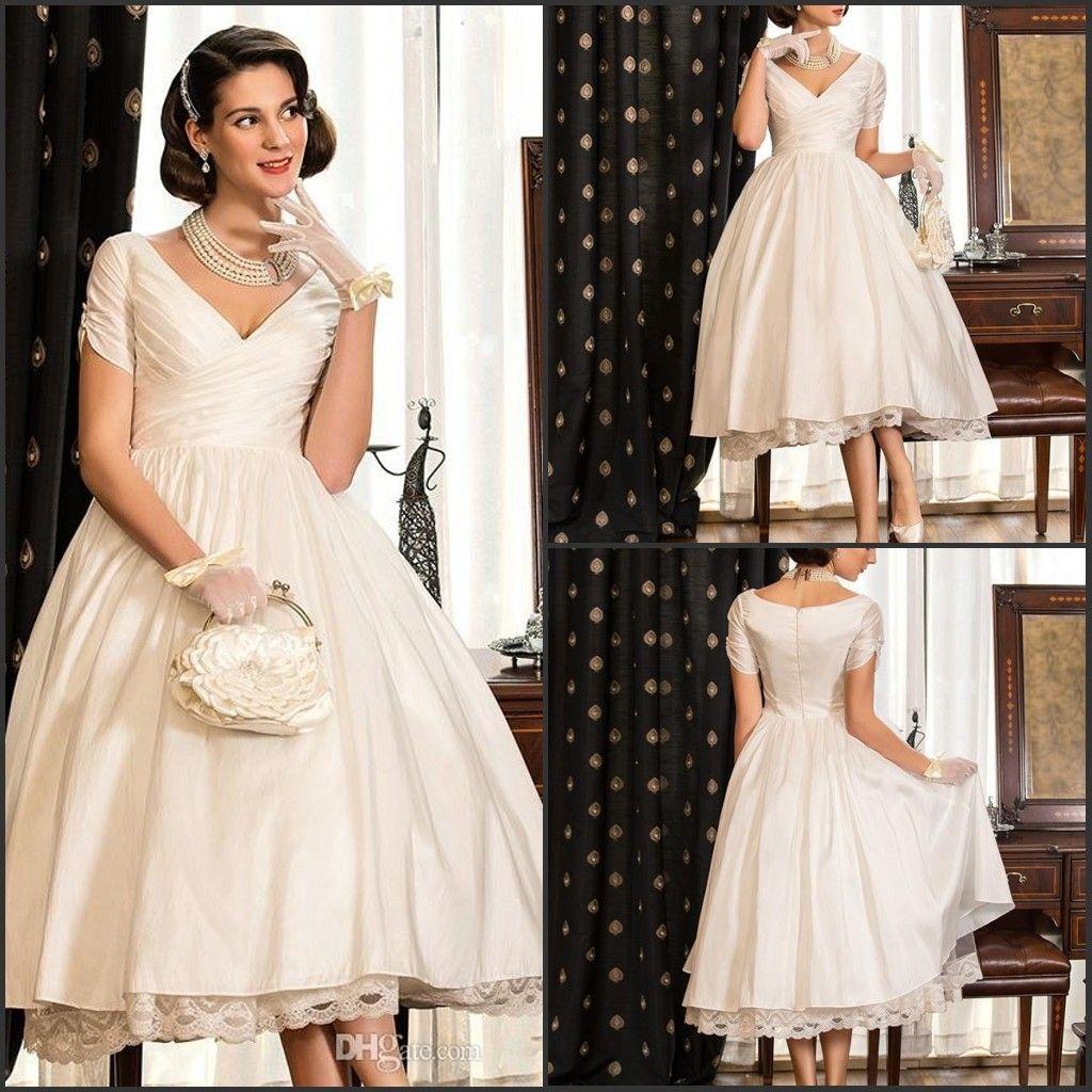 Discount vintage short 2016 wedding dresses tea length a for Vintage t length wedding dresses