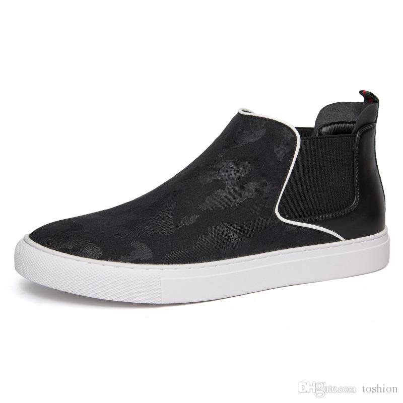 Stylish Men Short Boots Casual Canvas Shoes Fashion Sneakers