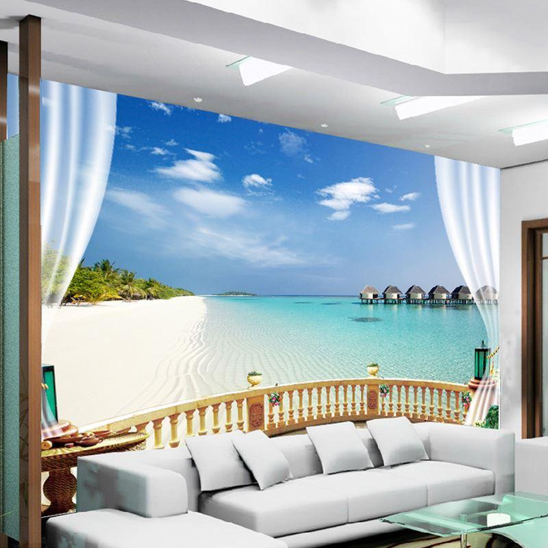 Custom photo wallpaper 3d natural seaview beach mural - Wohnzimmergestaltung 3d ...