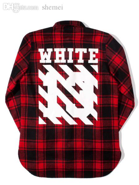 Wholesale-off White Red Black Flannel Shirt Plaid Shirt Shirt ...
