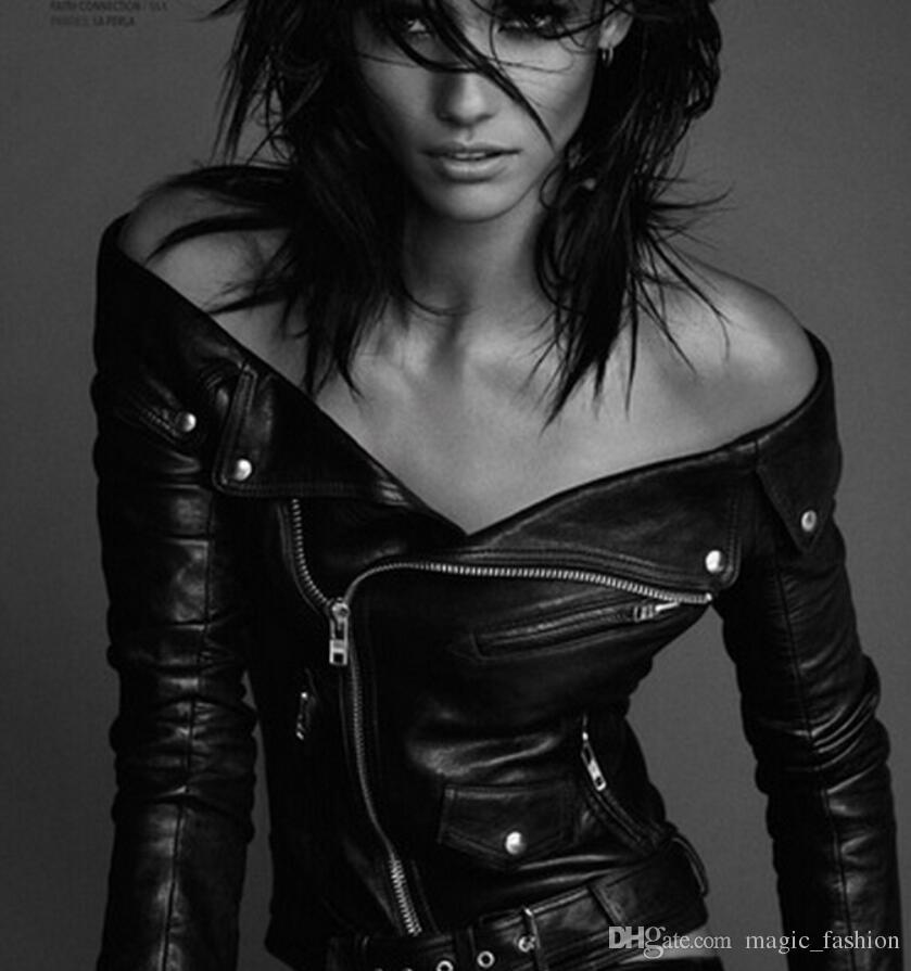 2017 2016 Fashion Womens Genuine Leather Jacket Sheepskin Real ...
