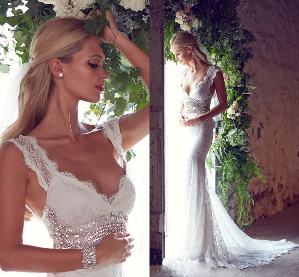 2017 summer bohemian mermaid wedding dresses lace deep v for Bohemian mermaid wedding dress