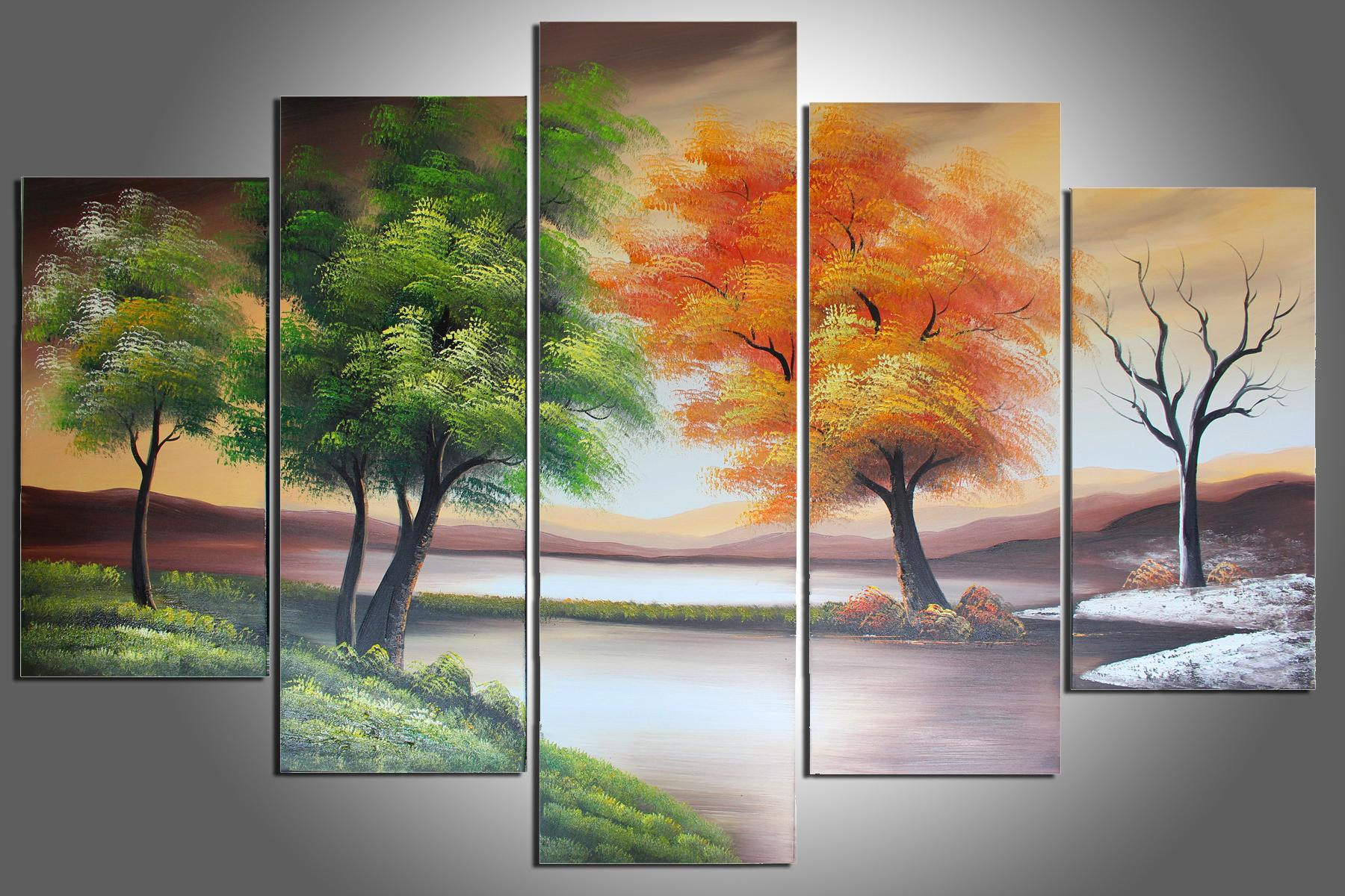 Hand Painted Wall Art 100% hand painted four seasons trees abstract oil painting wall
