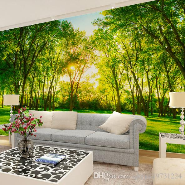 Modern Large Scale Non Woven Wallpaper Nature Green Woods Applicable Bedroom  Living Room TV Backdrop Restaurant, Porch Partition Corridor Murals TV  Setting ...