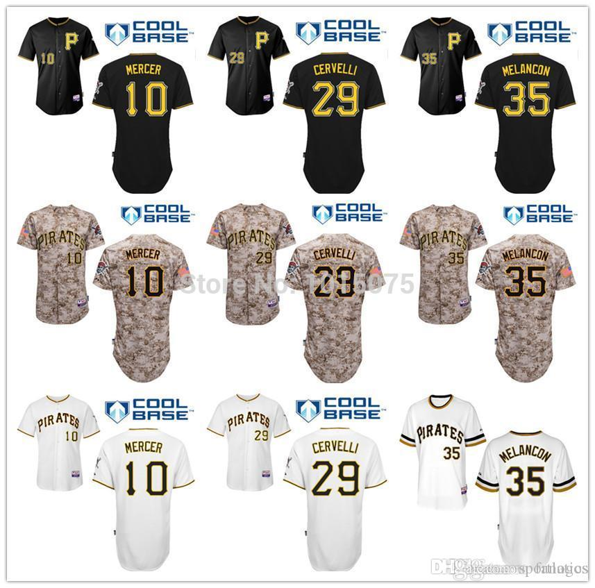 2015 Fashion New Pittsburgh Pirates Jersey Camo Noir Blanc Francisco Cervelli, J