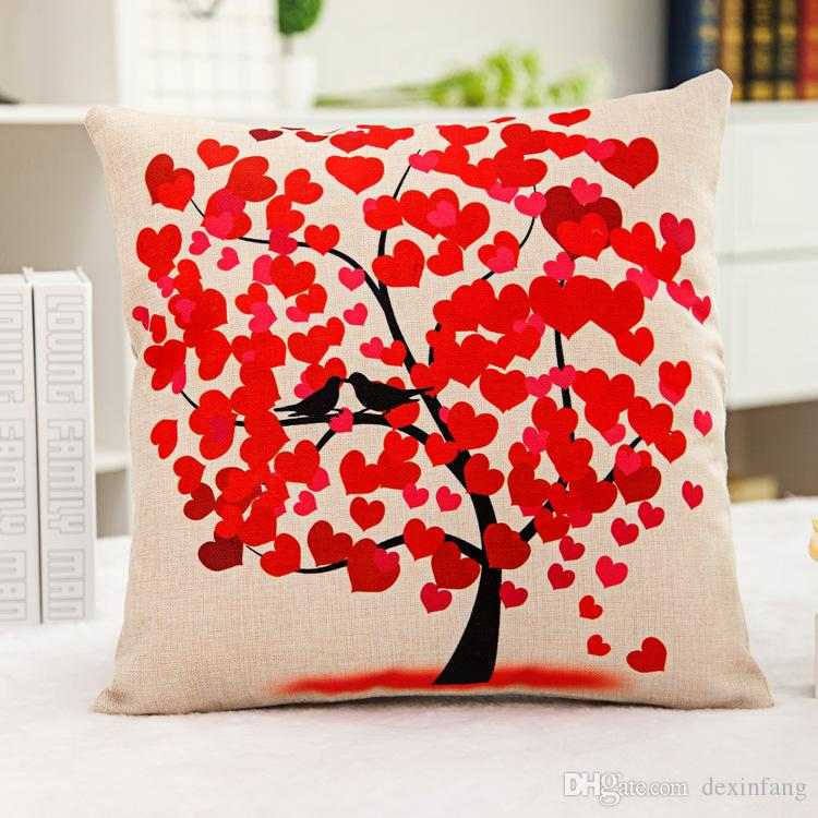 1x Vintage Composite Linen Pillow Case Sofa Cushion Cover Red Heart And  Bird Tree 42x42cm Composite Linen Cushion Case Pillow Bicycle Car Scatter  Cushion ...