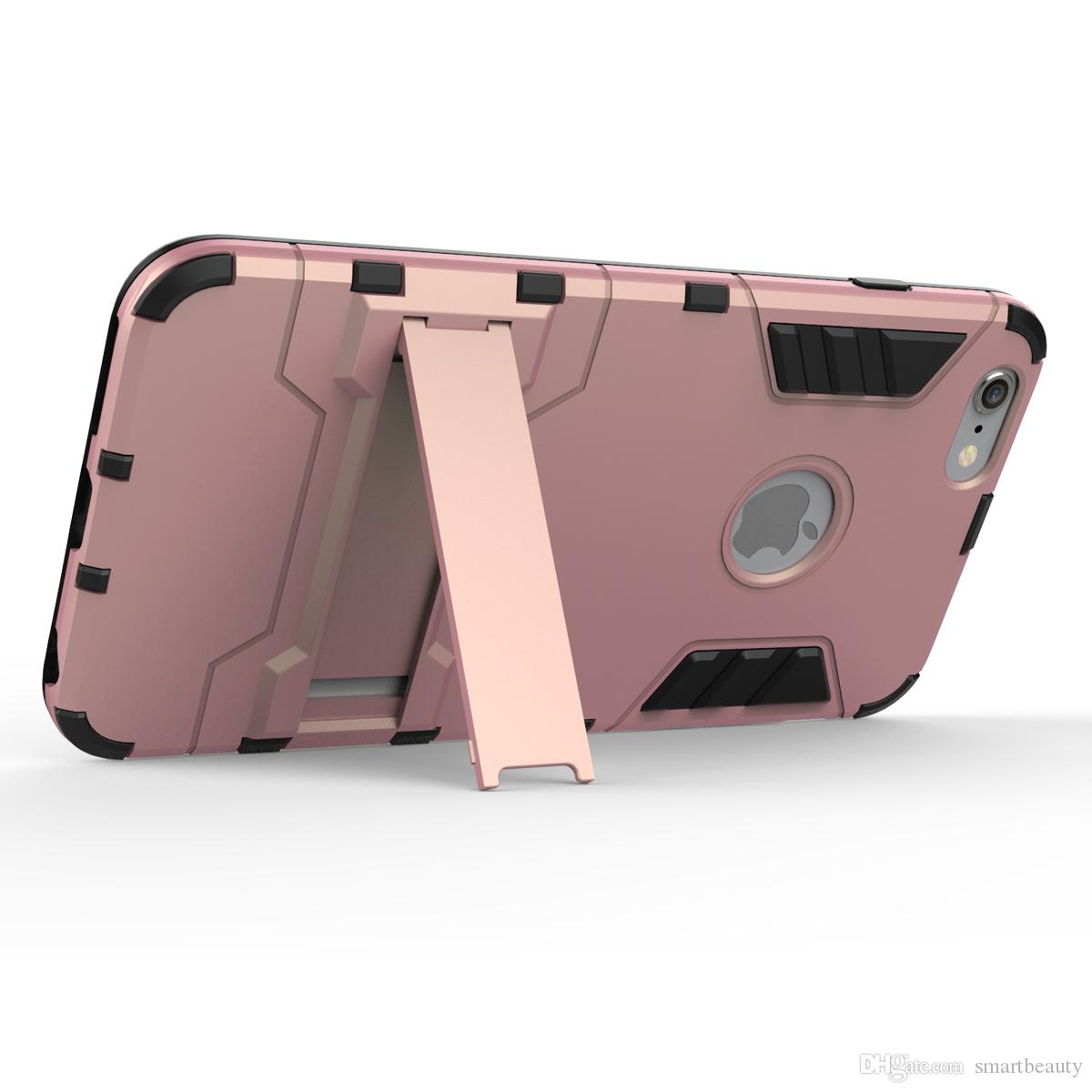 Dual Layer Strong Back Cover Iphone 7 7S 6S Plus 5 5S Hybrid Rocket Kickstand Hard Protective