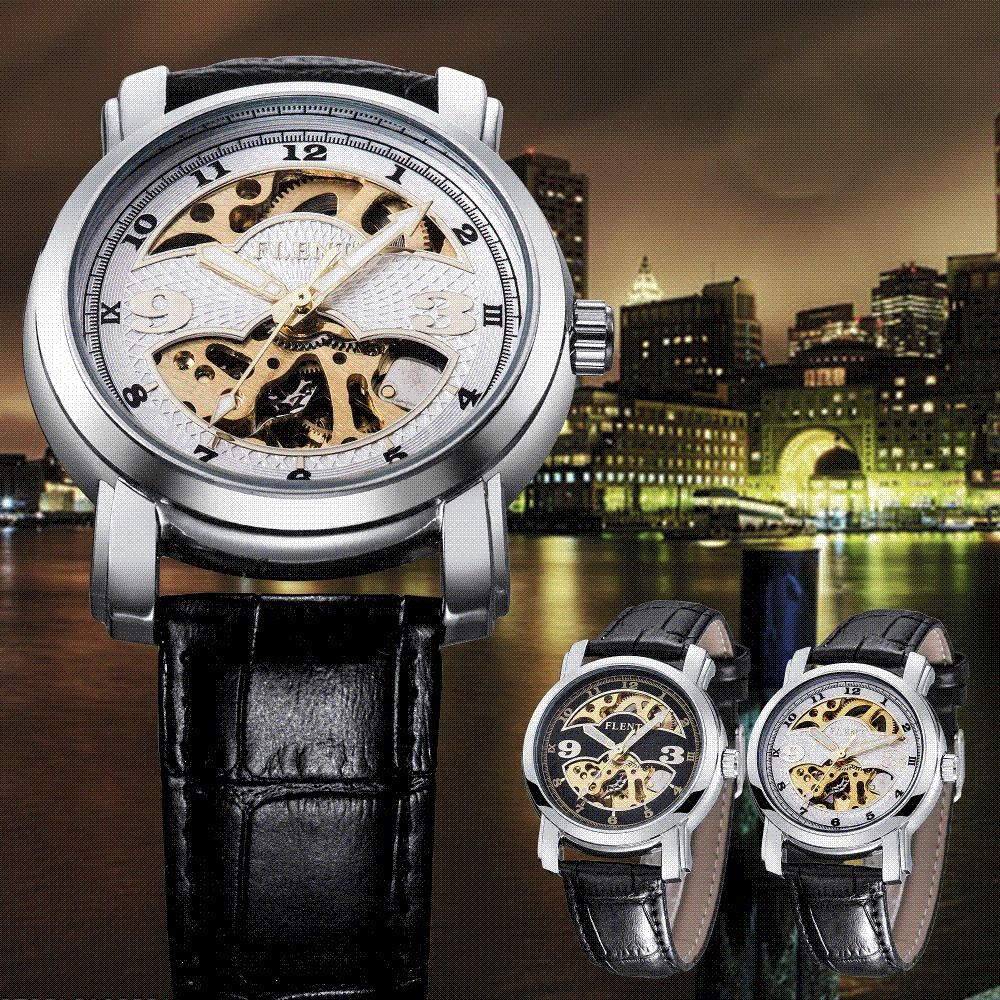 Wrist watch on discount - 2016 Men Automatic Watch Fashion Skeleton Watch Leather Strap Mechanical Wrist Watch Cheap Watch