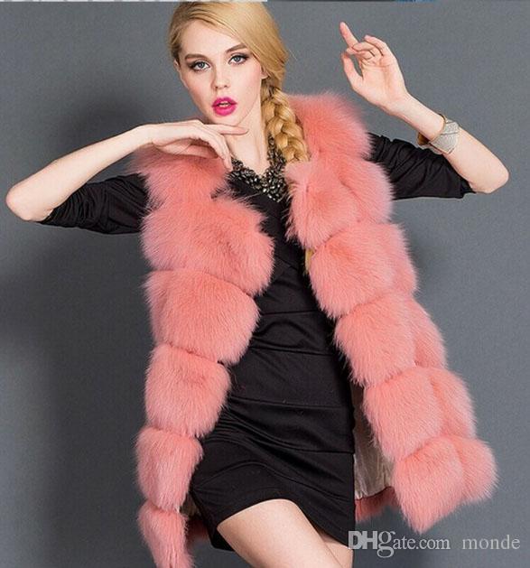 on Sale 2016 New Autumn & Winter Imitation Fox Fur Coats Women