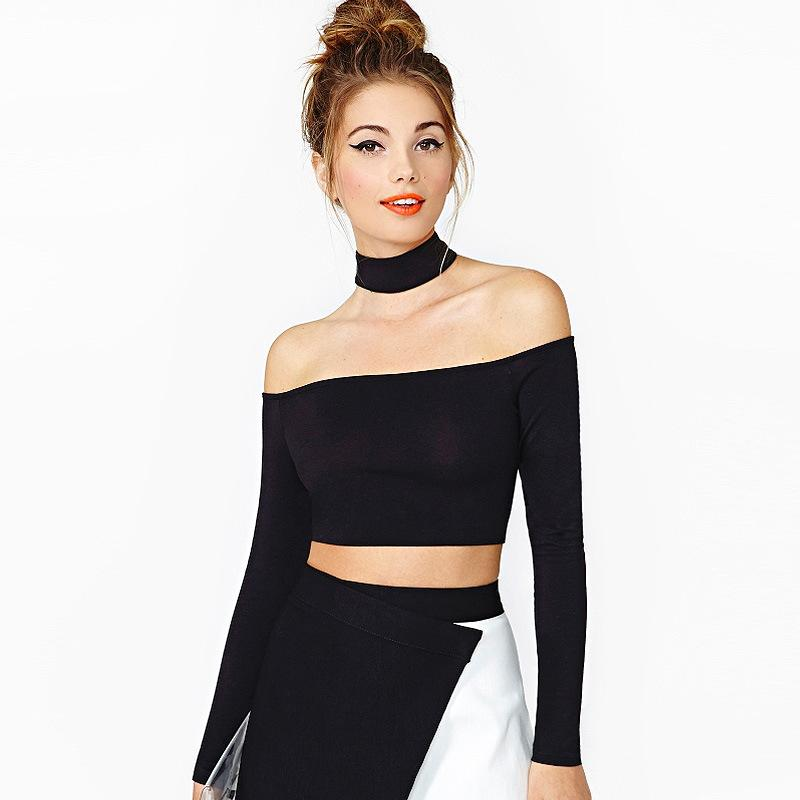 Women long sleeve shirt sexy backless off the shoulder for Tight t shirt crop top