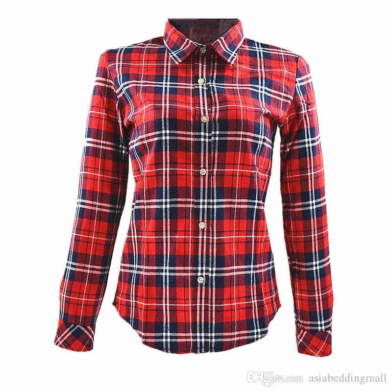 2017 womens 70 s vintage button down red plaid blouse Womens red plaid shirts blouses