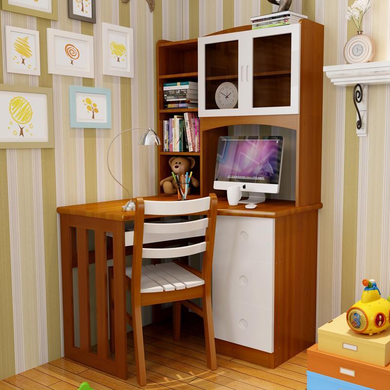All wood desk bookcase computer corner children