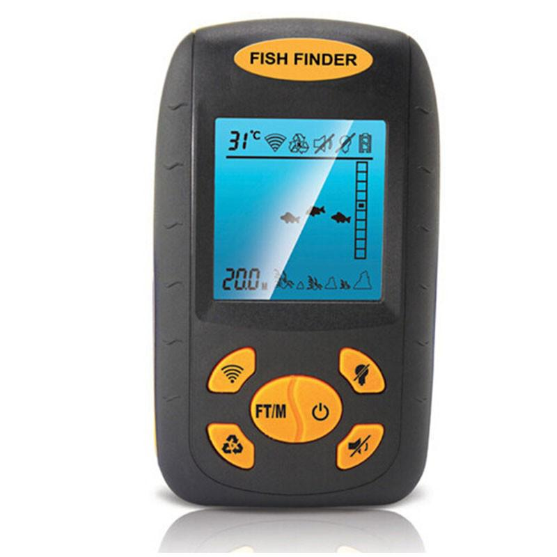 Wholesale portable sonar lcd fish depth finder alarm 100m for Cheap fish finder