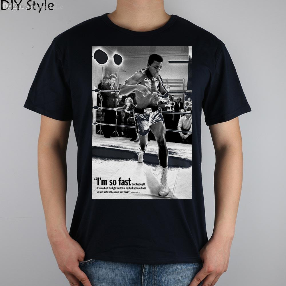 Wholesale muhammad ali so fast speed t shirt top lycra for Make t shirts fast