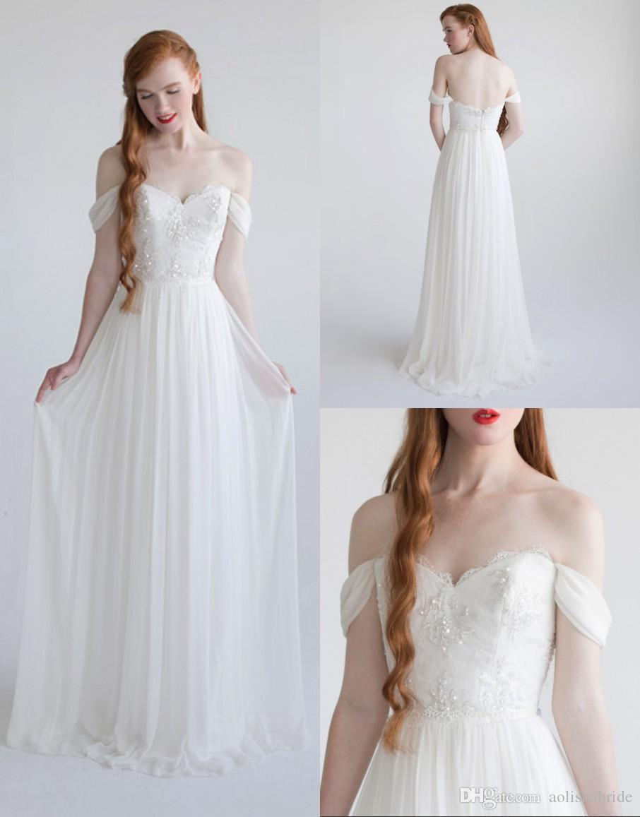 Discount Simple Wedding Dresses Off The Shoulder White Chiffon Embrelished With Appliques Floor