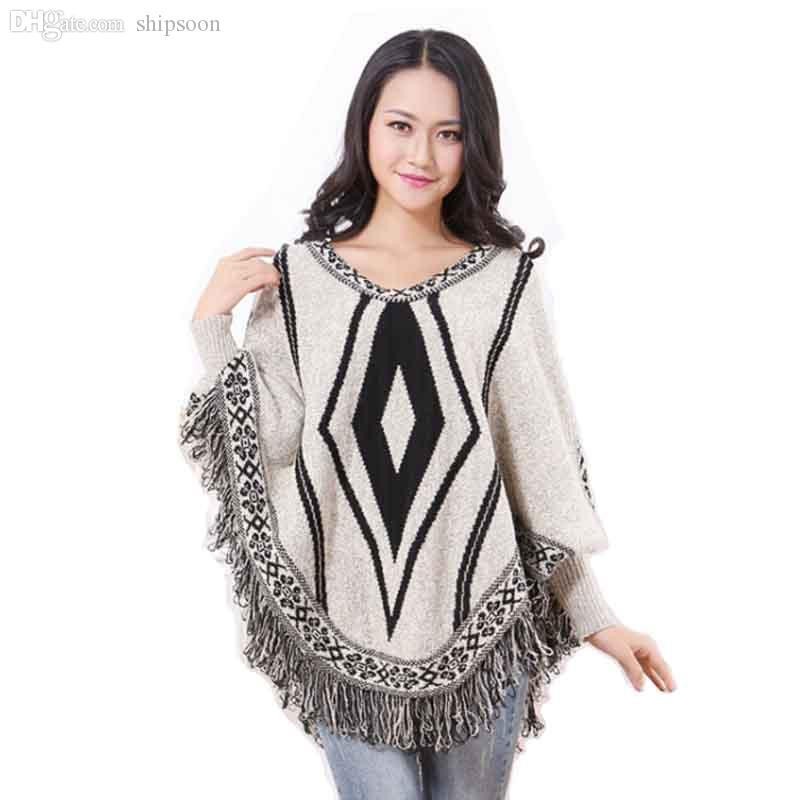 2017 Wholesale Pull Femme Poncho Sweater Women Pullover Jersey Mujer ...