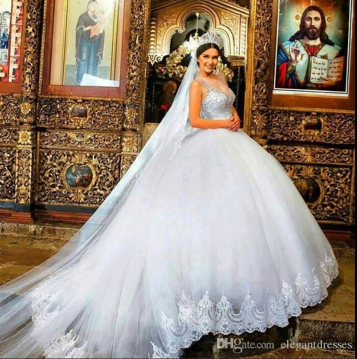 Ball Gown Wedding Dresses 2017 With Bling : Western luxury white wedding dresses ball gowns bling sweetheart