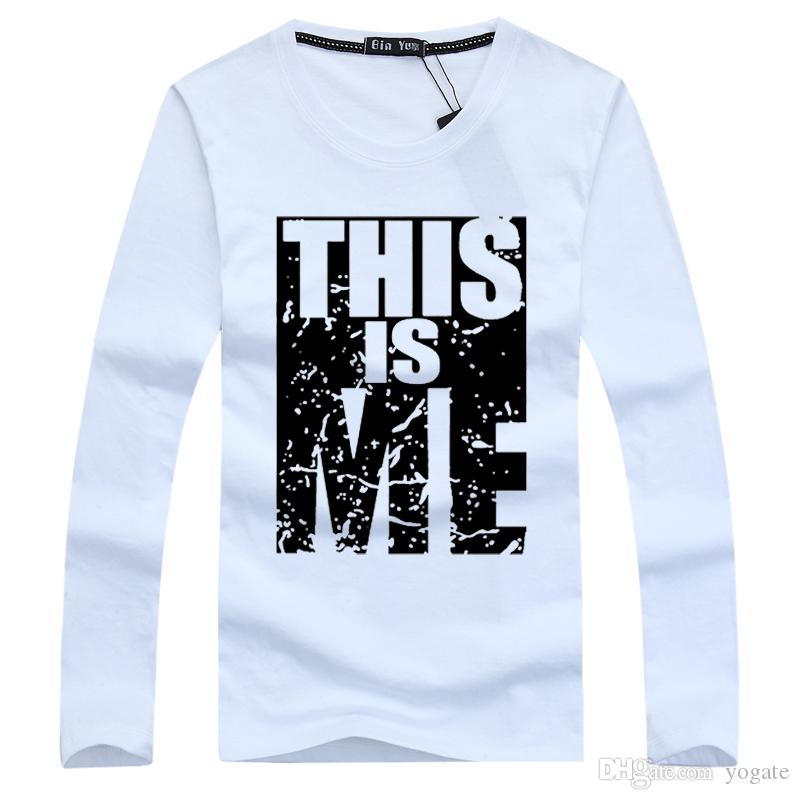 Autumn men t shirt cotton long sleeve young style letter for T shirt printing business proposal letter