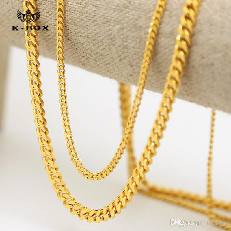 AAAAA stars 24K 3mm / 5mm 30 pouces Wide Solid Plaqué Or Small Miami Cuban Curb