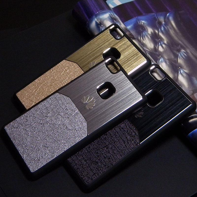 Pour Huawei P8 Lite Housse P8 coque P9 Lite P9 Plus Aluminium brossé Métal avec Luxe Peau hybird matériel