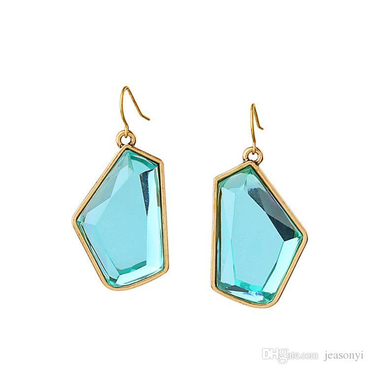Bevel Light Sapphire Stone Chandelier Earrings Irregular Geometry ...