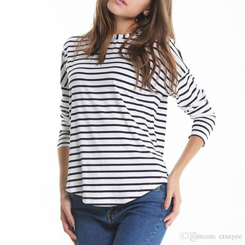 Women lady casual loose girls long sleeve o neck blouse for Womens white shirts high quality