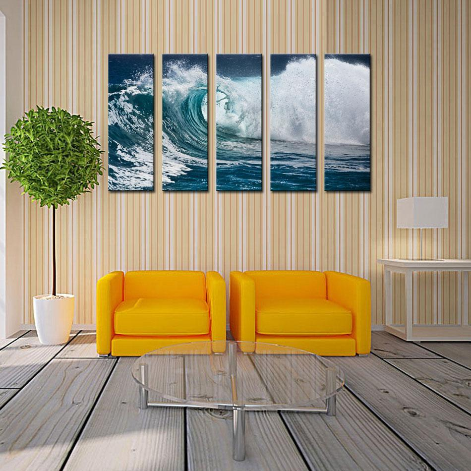 5 Piece Wave Seascape Print On Canvas Roaring Wave Painting Canvas No Framed Ocean Wall Art