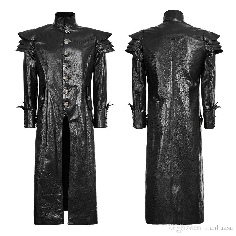 Gothic Punk Mens Trench Coats Slim Fit Long Black Trench Coats PU ...