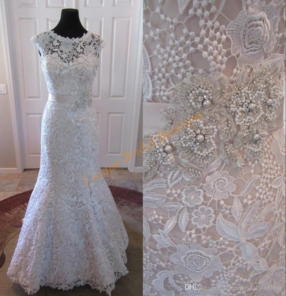 Robe de mariage 2016 fully lace wedding dresses with cap for Fully beaded wedding dresses