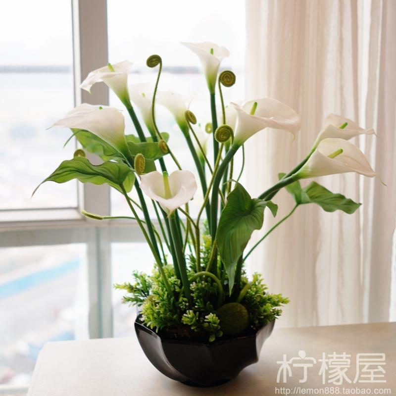 2017 artificial flowers bonsai plants set pastoral calla for Artificial plants for interior decoration