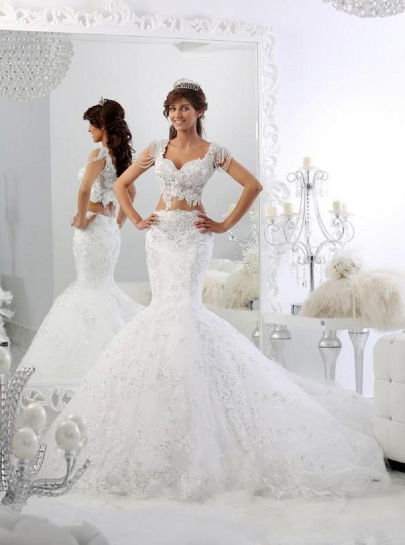 Sparkly two pieces wedding dresses sexy mermaid pearl for Sparkly wedding dresses with sleeves