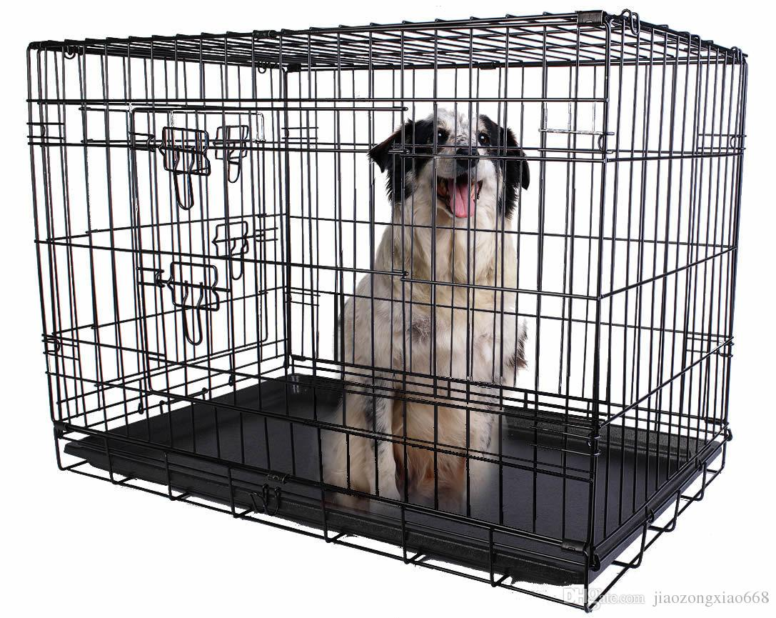 36'' 2 Doors Wire Folding Pet Crate Dog Cat Cage Suitcase Kennel ...