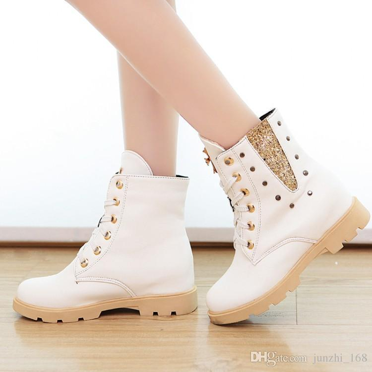 Nice New Winter Ankle Boots Women Flats Shoes Martin Boots Lace Up
