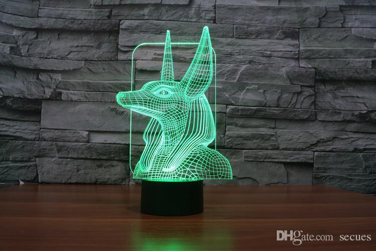 2016 Lamp Guard 3D Optical Night Light de New Design Pharaon 9 LED Night Light D