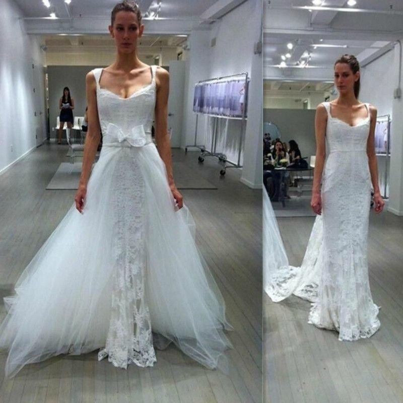 2017 detachable train wedding dresses modest sheath western lace tulle straps court train bridal. Black Bedroom Furniture Sets. Home Design Ideas