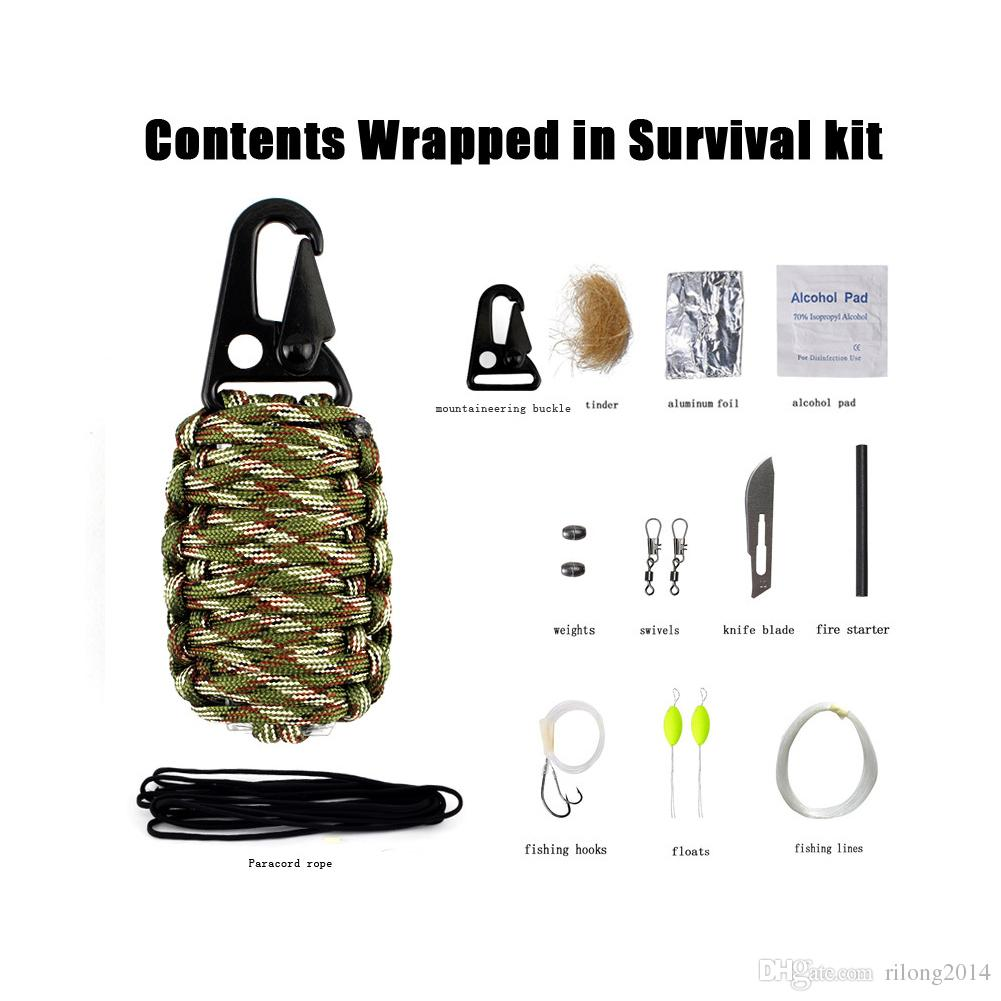 12 IN 1 EDC 550 Paracord grenade Emergency Kit couteau Fire Starter pêches poche pour la survie de camping en plein air RL21-0020