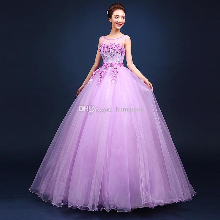 2016 Cheap Light Purple Quinceanera Dresses Ball Gown Sheer Crew ...