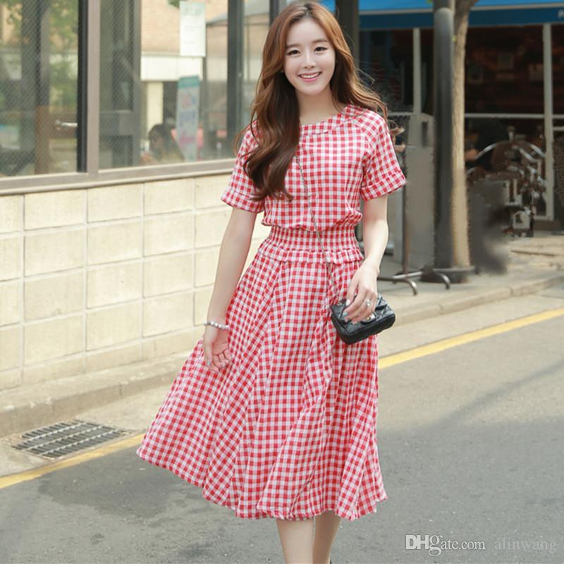 2016 Korean Fashion Summer Style Women Casual Cotton Linen Dresses Stretchy Slim Elastic Waist