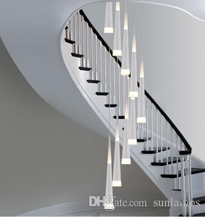 1.5 3.8M Long Led Stair Lighting Bar Cone Spiral Pendant Lamp Lights For  Extra Height Stairwell Library Studio Led Strip Lighting Luminaire Led Light  Led ...