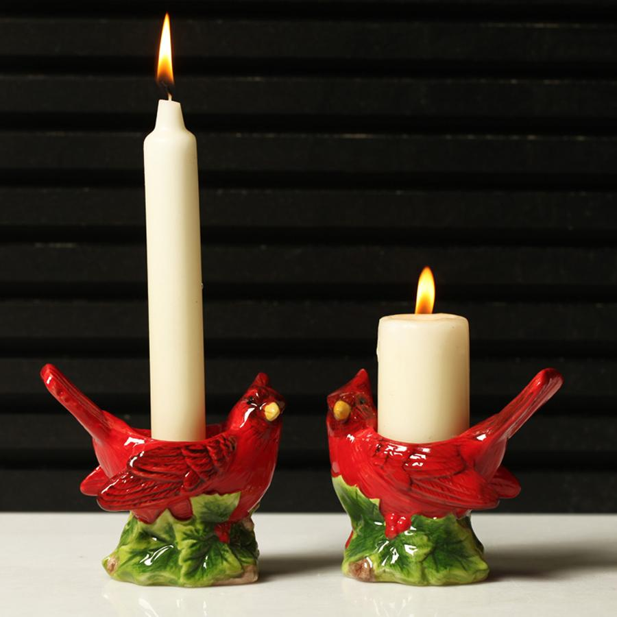 Wholesale 2017 New Arrival Home Decor Christams Gift Rustic Series Red Ceramic Couple Bird Ceramic Mousse Candle Holders Candle Holders Home Decor Ceramic