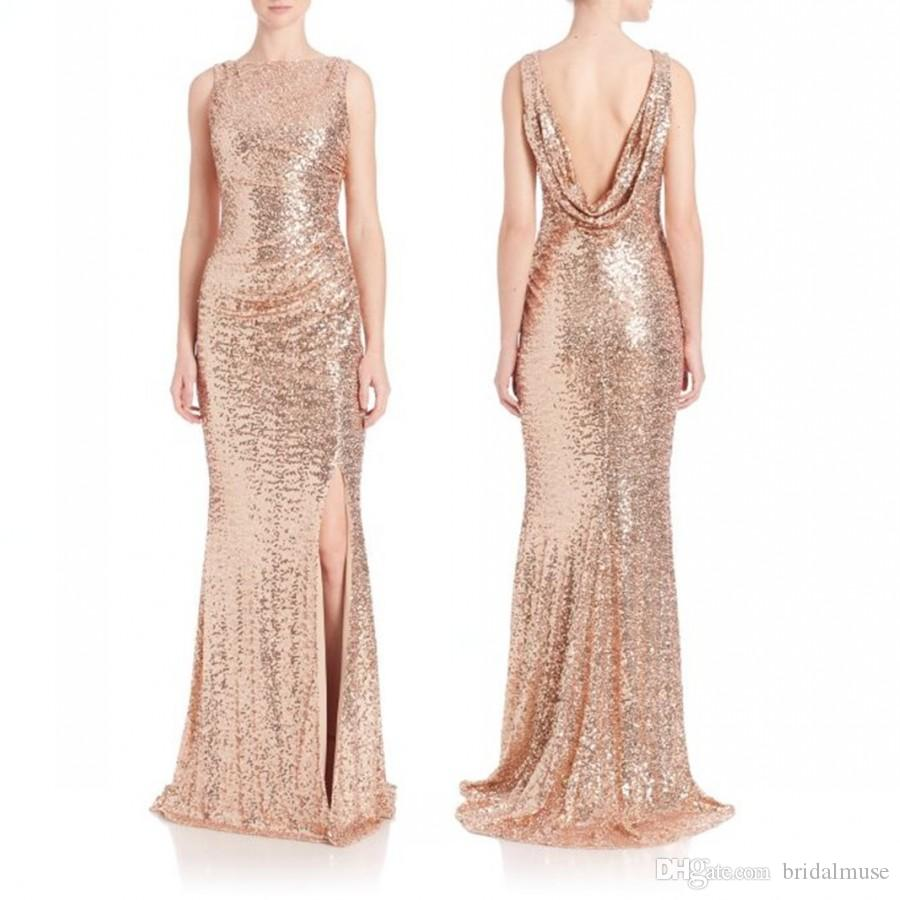 2016 Rose Gold Sequins Thigh-high Split Evening Dresses Formal Sexy Bateau Neck Ruched Prom Gowns Sheath Long Low Back Custom Made