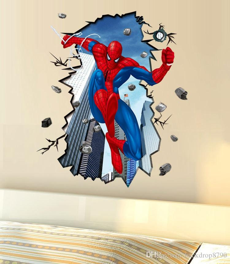 Cool Wall Decals Large Spider Man 3D Crack Wall Sticker Living Room Kids  Room PVC Removable